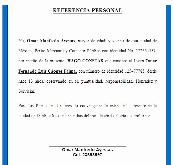 Formato Carta De Recomendacion Personal Fresh formato Referencias Personales