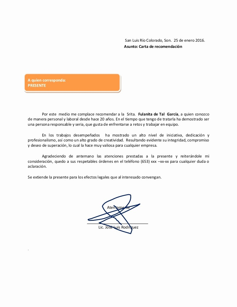 Formato Carta De Recomendacion Personal Inspirational Carta De Re Endacion 2016