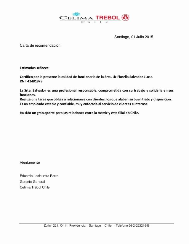 Formato Carta De Recomendacion Personal Inspirational Carta De Re Endación Chile