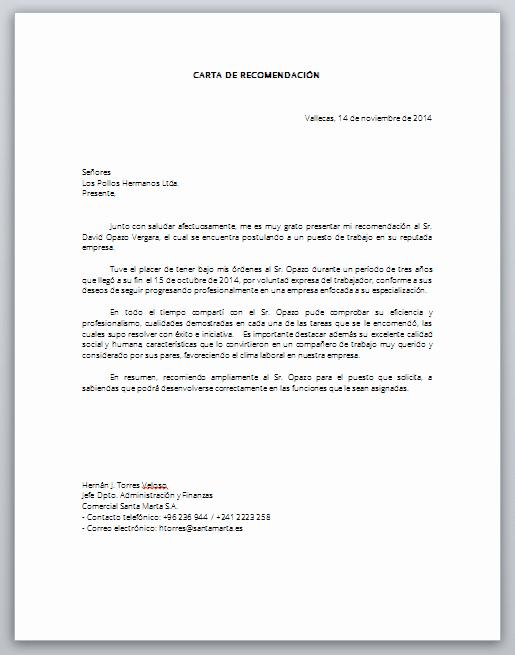 Formato Carta De Recomendacion Personal Inspirational Word Descarga formato Carta De Re Endación Laboral