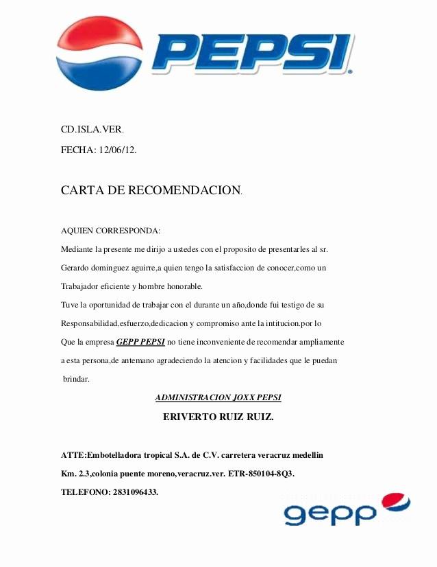 Formato Carta De Recomendacion Personal Lovely Pepsi
