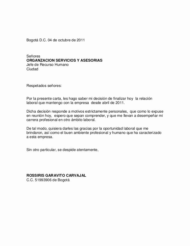 Formato Carta De Renuncia Sencilla Awesome Carta De Renuncia Oct 2011