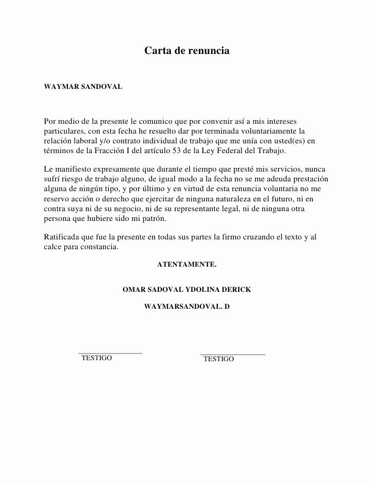 Formato Carta De Renuncia Sencilla Awesome formato Carta De Renuncia Voluntaria
