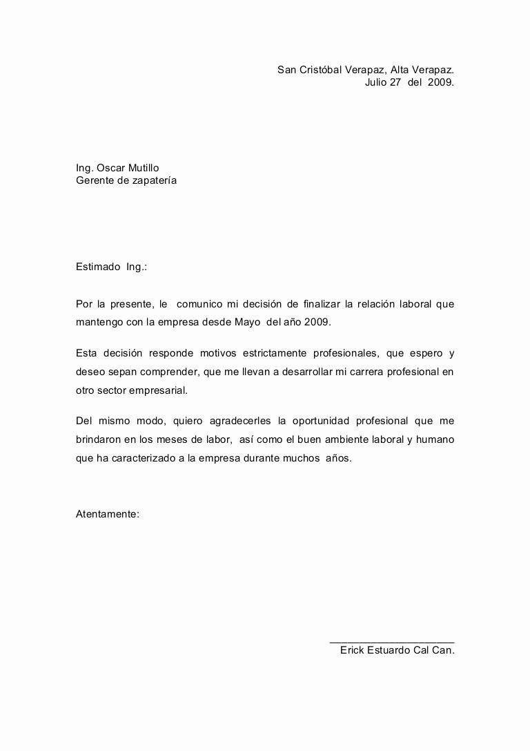 Formato Carta De Renuncia Sencilla Elegant Carta De Renuncia