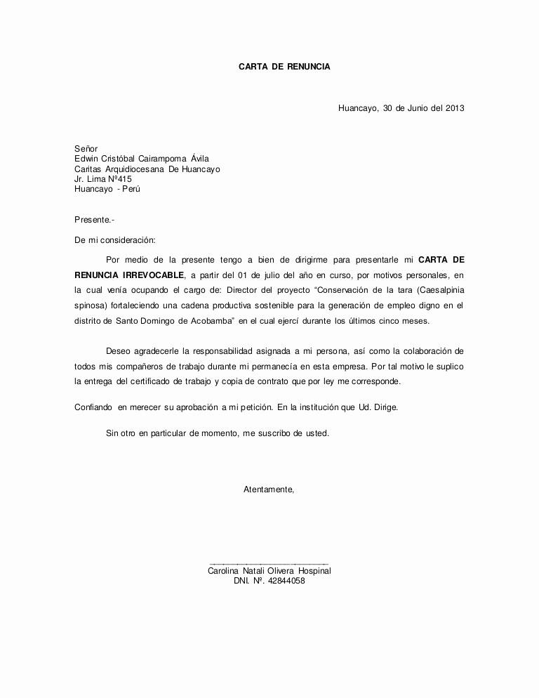 Formato Carta De Renuncia Sencilla Inspirational Carta De Renuncia 01