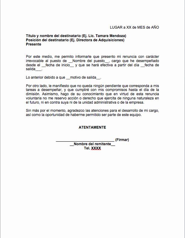 Formato Carta De Renuncia Sencilla Luxury Carta De Renuncia formatos Y Ejemplos