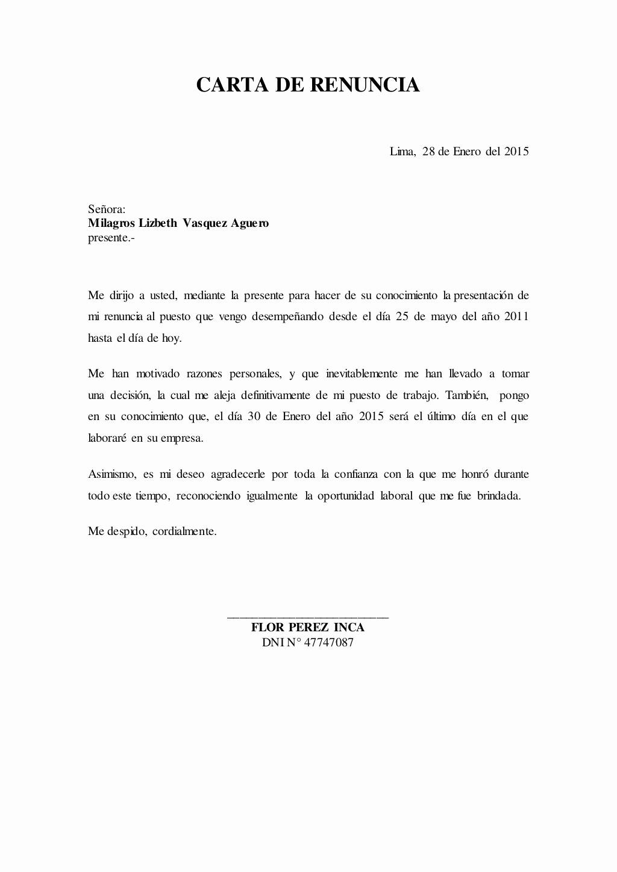 Formato Carta De Renuncia Sencilla Luxury Carta De Renuncia Lima 28 De Enero Del 2015 Señora