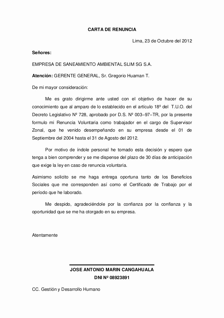 Formato Carta De Renuncia Sencilla Luxury Carta De Renuncia