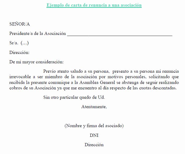 Formato Carta De Renuncia Sencilla Luxury Carta Renuncia A asociación 709×591
