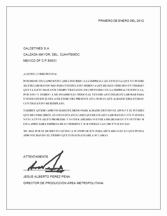 Formato Carta De Renuncia Sencilla New Carta De Renuncia Descripción Imagen