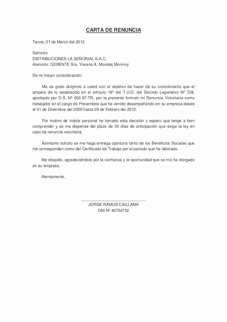 Formato Carta De Renuncia Sencilla Unique Carta De Renuncia