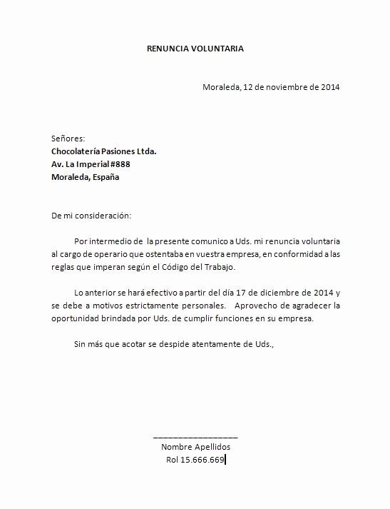 Formato Carta De Renuncia Sencilla Unique Word Descarga formato Para Carta De Renuncia