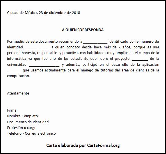 Formato Cartas De Recomendacion Laboral Fresh Carta De Re Endación Personal Ejemplos Y formato