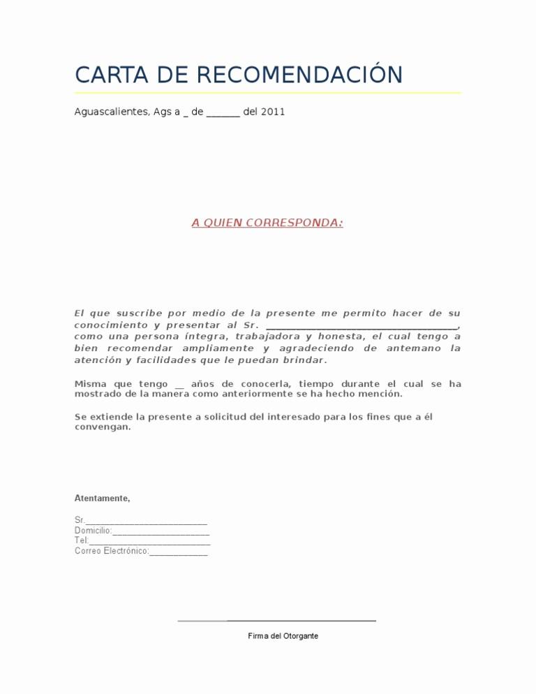 Formato Cartas De Recomendacion Laboral New Imágenes De Carta De Re Endación Laboral