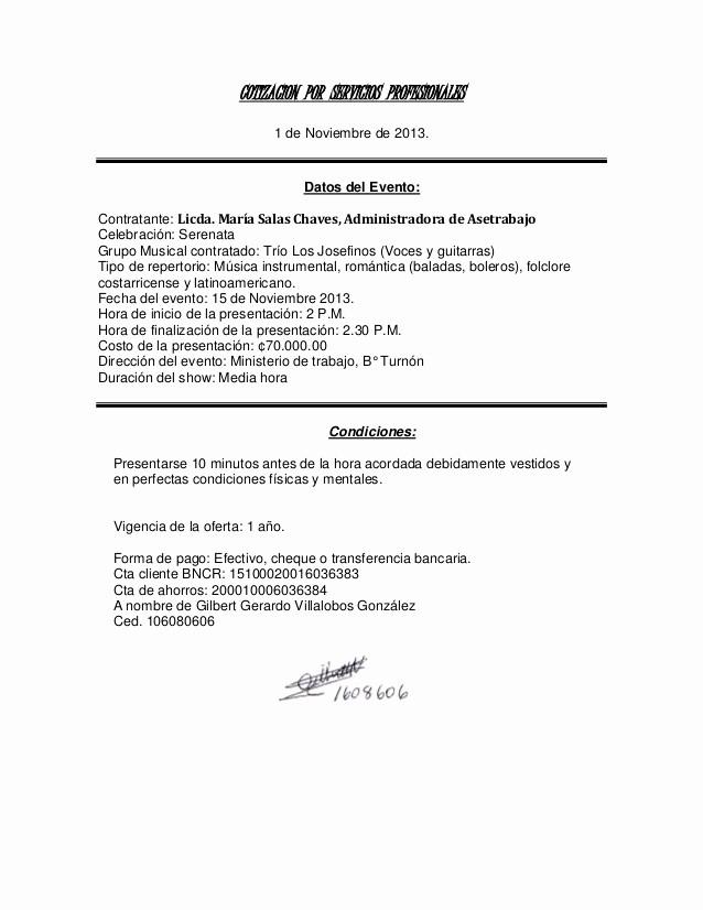 Formato Cotizacion De Servicios Profesionales Inspirational Cotizacion Min Trab