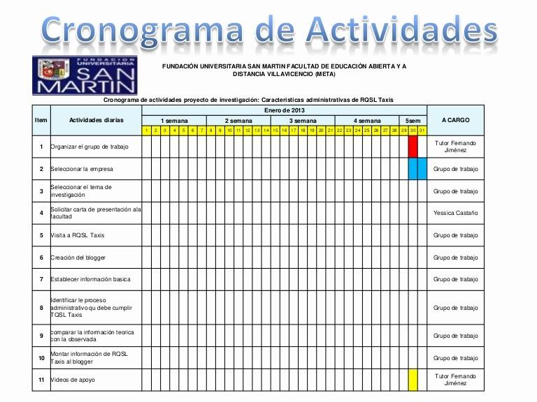 Formato Cronograma De Actividades Excel Fresh Presentación Cronograma De Actividades