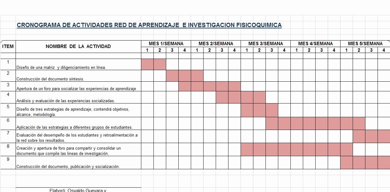 Formato Cronograma De Actividades Excel Luxury Fisicoqumica En Red Cronograma De Actividades