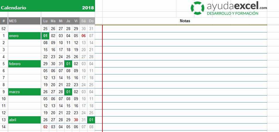 Formato Cronograma De Actividades Excel Luxury Plantillas Calendario En Excel 2018 Ayuda Excel
