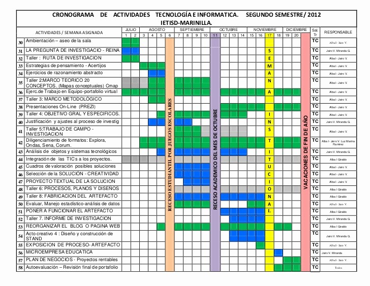 Formato Cronograma De Actividades Excel New Cronograma De Actividades Tecnologa E Informatica