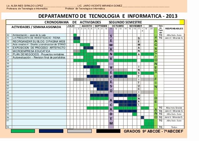 Formato Cronograma De Actividades Excel New Cronograma Tecno Informatica 2013