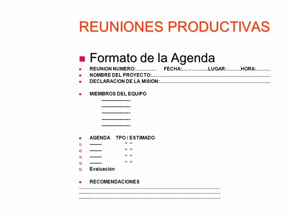 Formato De Agenda De Reuniones Elegant Reuniones Productivas Ppt Descargar