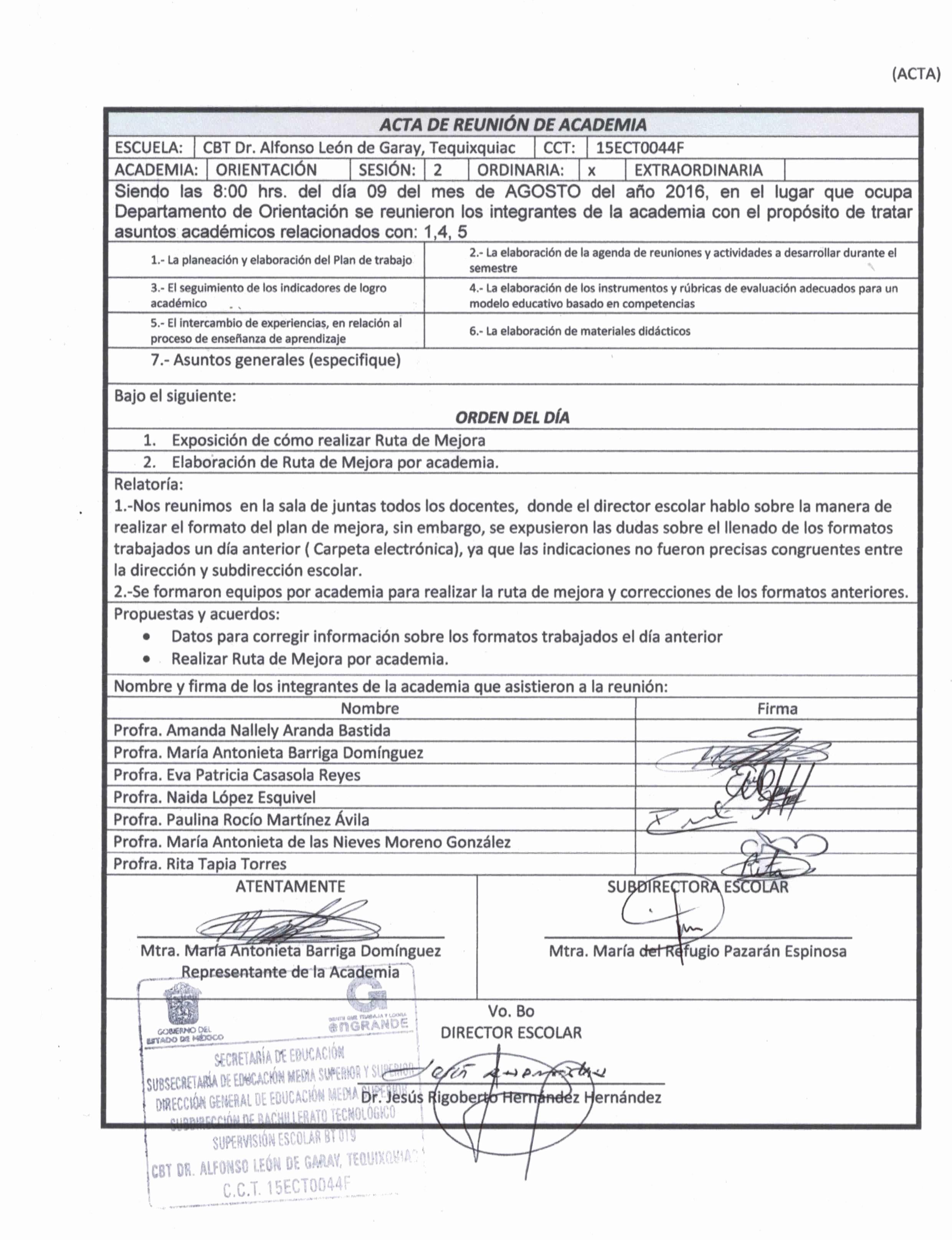 Formato De Agenda De Reuniones Inspirational Cbt Dr Alfonso León De Garay Tequixquiac