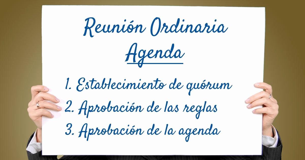 Formato De Agenda De Reuniones Inspirational Gua Para Preparar La Agenda De Una Reunión O asamblea