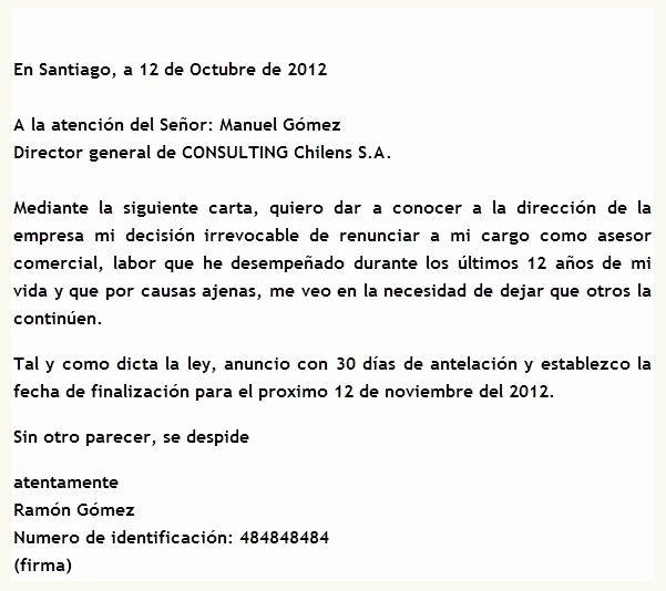 Formato De Carta De Renuncia Awesome Modelo De Carta De Renuncia En Chile