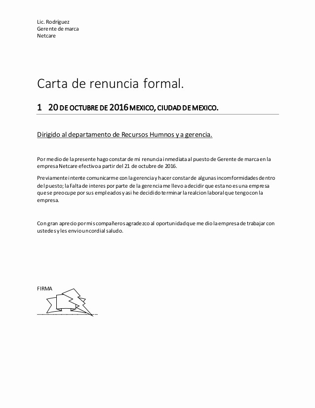 Formato De Carta De Renuncia Beautiful Carta De Renuncia formal