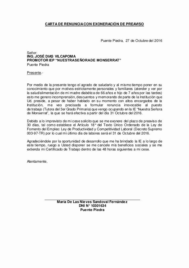 Formato De Carta De Renuncia Elegant Carta De Renuncia Con Exoneración De Preaviso