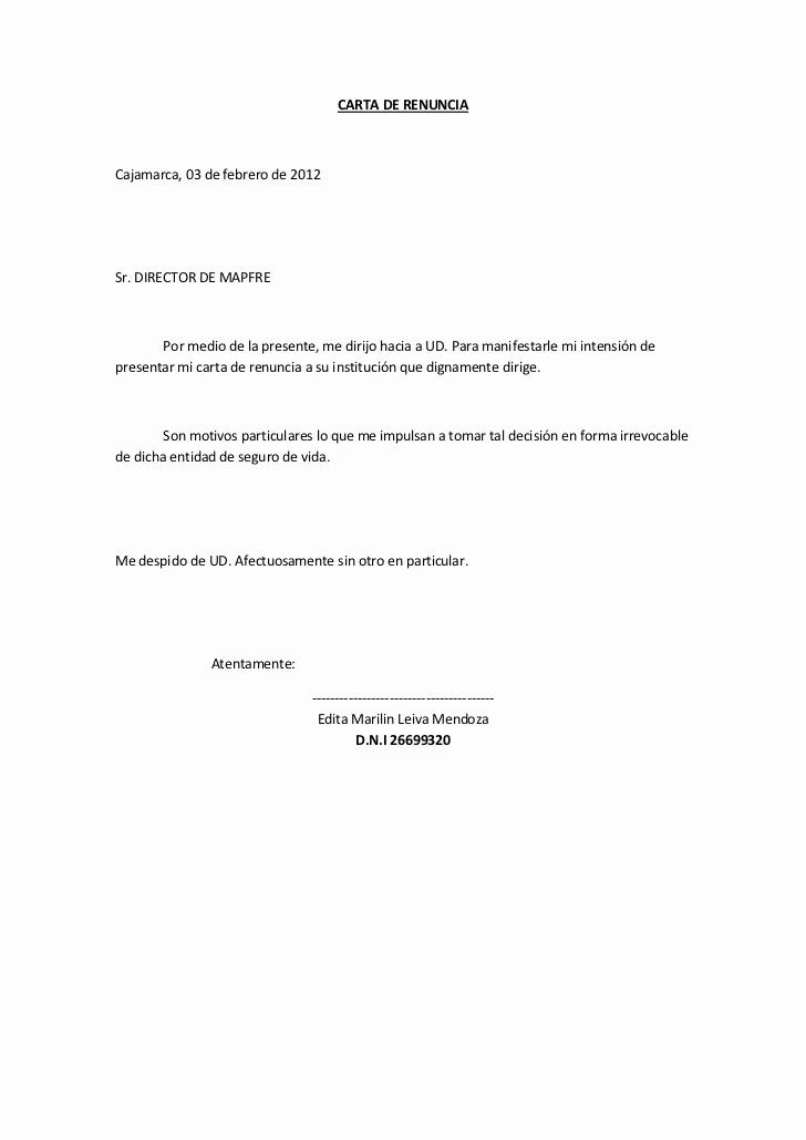 Formato De Carta De Renuncia Elegant Carta De Renuncia