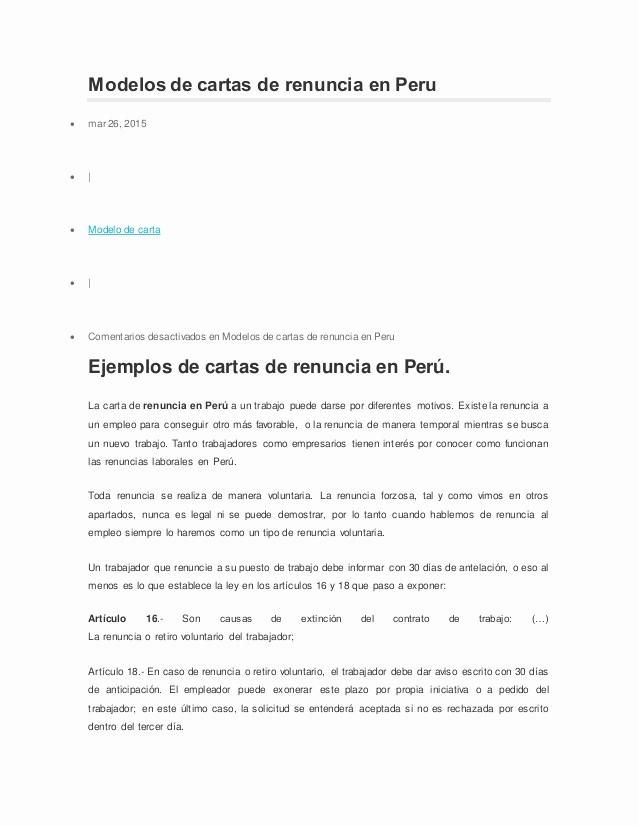 Formato De Carta De Renuncia Fresh Modelos De Cartas De Renuncia En Peru