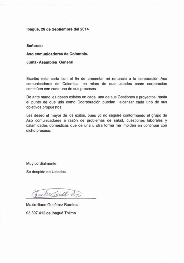 Formato De Carta De Renuncia Inspirational Carta De Renuncia A aso Unicadores De Colombia