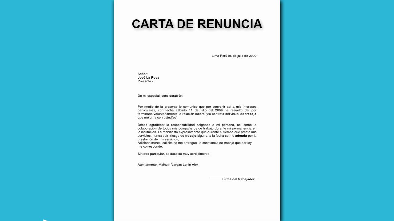 Formato De Carta De Renuncia Lovely Carta De Renuncia De Trabajo formato Modelo Y Para Imprimir