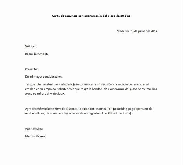 Formato De Carta De Renuncia Luxury Ejemplos De Cartas De Renuncia