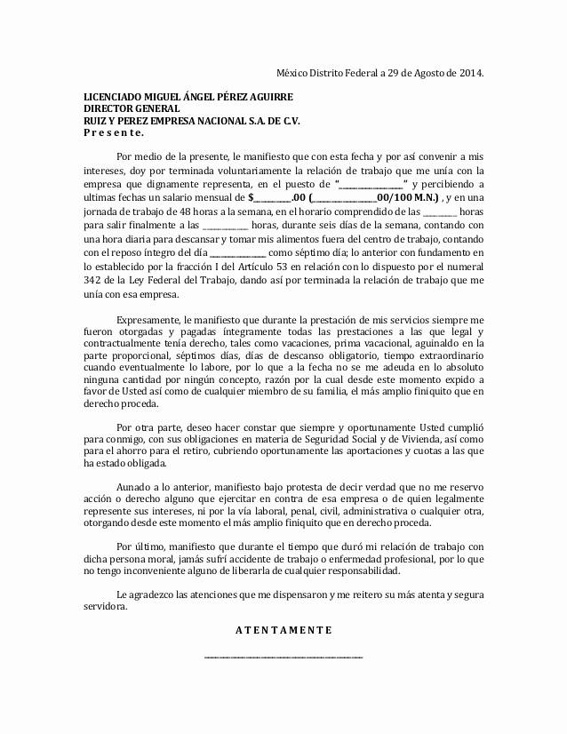 Formato De Carta De Renuncia Luxury formato De Renuncia Al Trabajo Para Empresa
