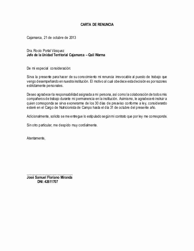 Formato De Carta De Renuncia New Carta De Renuncia De Un Trabajador