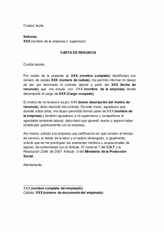 Formato De Carta De Renuncia New Carta De Renuncia En Colombia