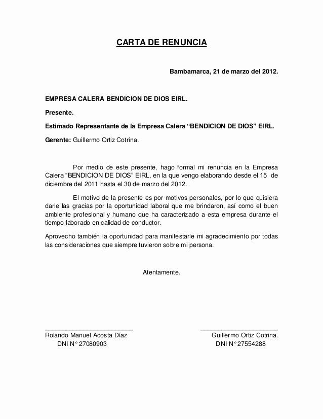 Formato De Carta De Renuncia Unique Carta De Renuncia