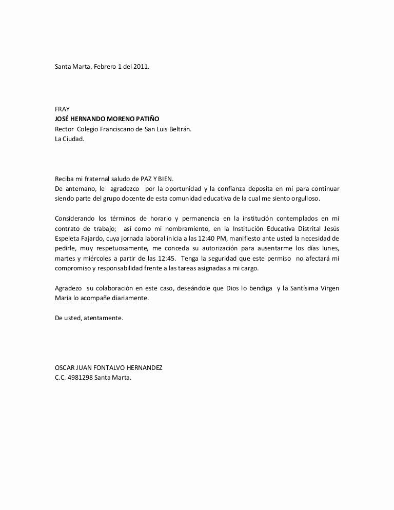 Formato De Carta De solicitud Awesome solicitud De Permiso Oscar