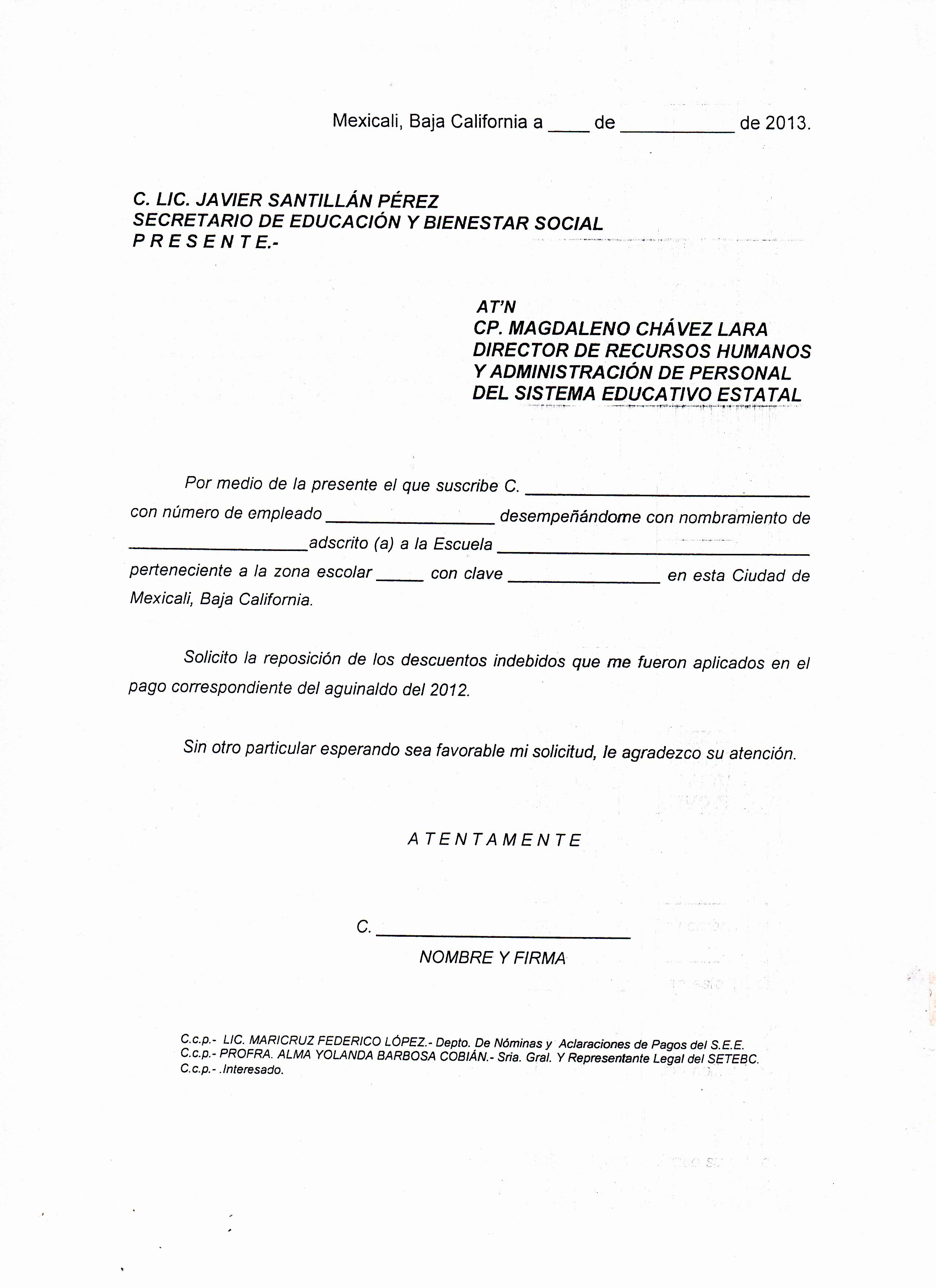 Formato De Carta De solicitud Beautiful formato De solicitud De Reposición De Los Descuentos