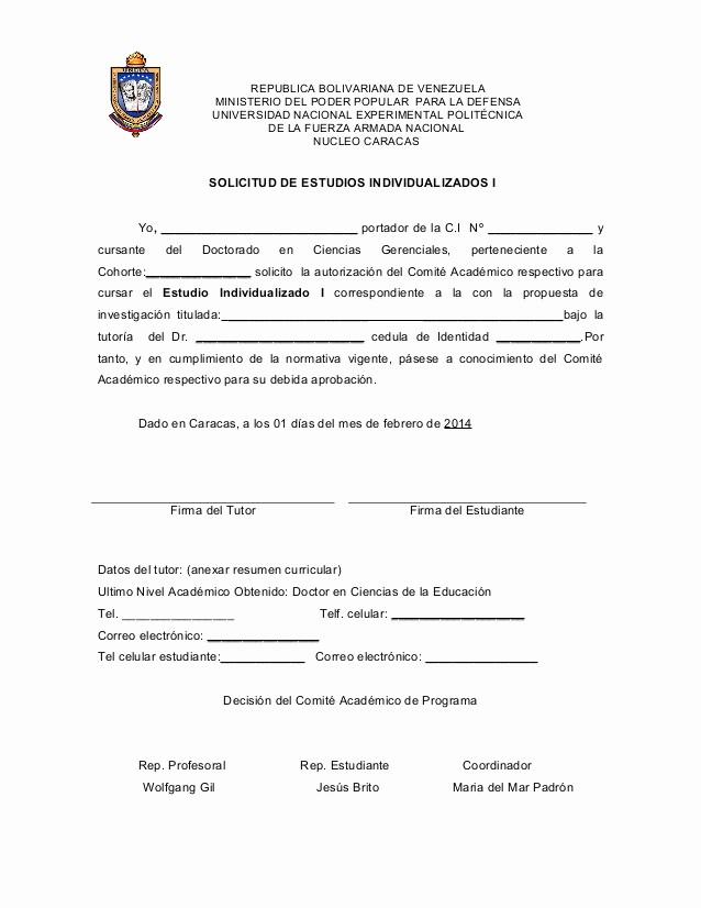 Formato De Carta De solicitud Best Of formato solicitud De Estudio Individualizado