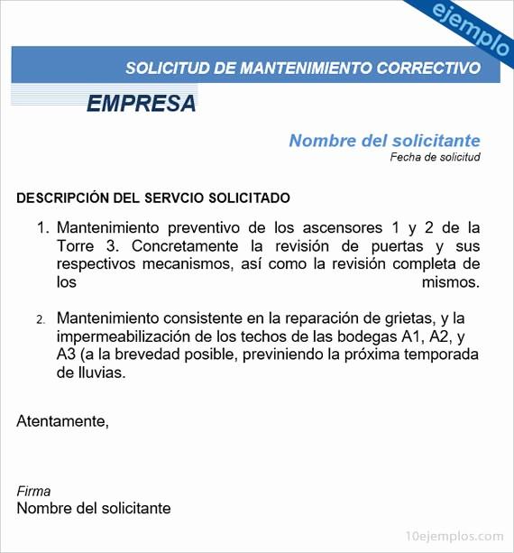 Formato De Carta De solicitud Elegant Ejemplos De formato De solicitud De Mantenimiento