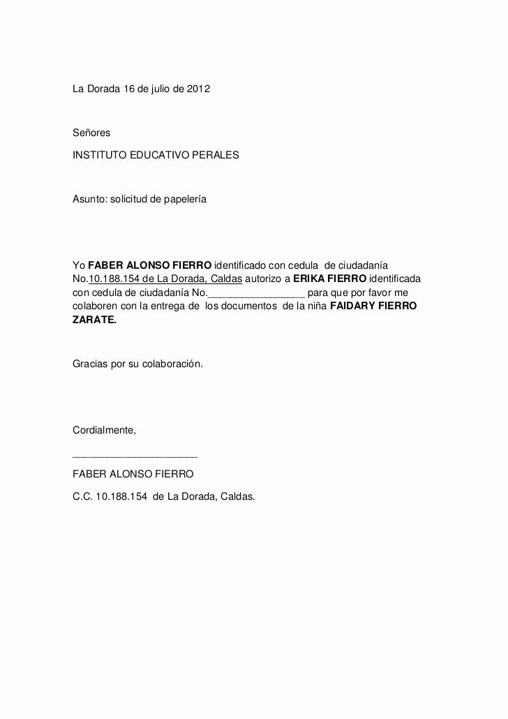 Formato De Carta De solicitud Inspirational Carta solicitud D Papeleria