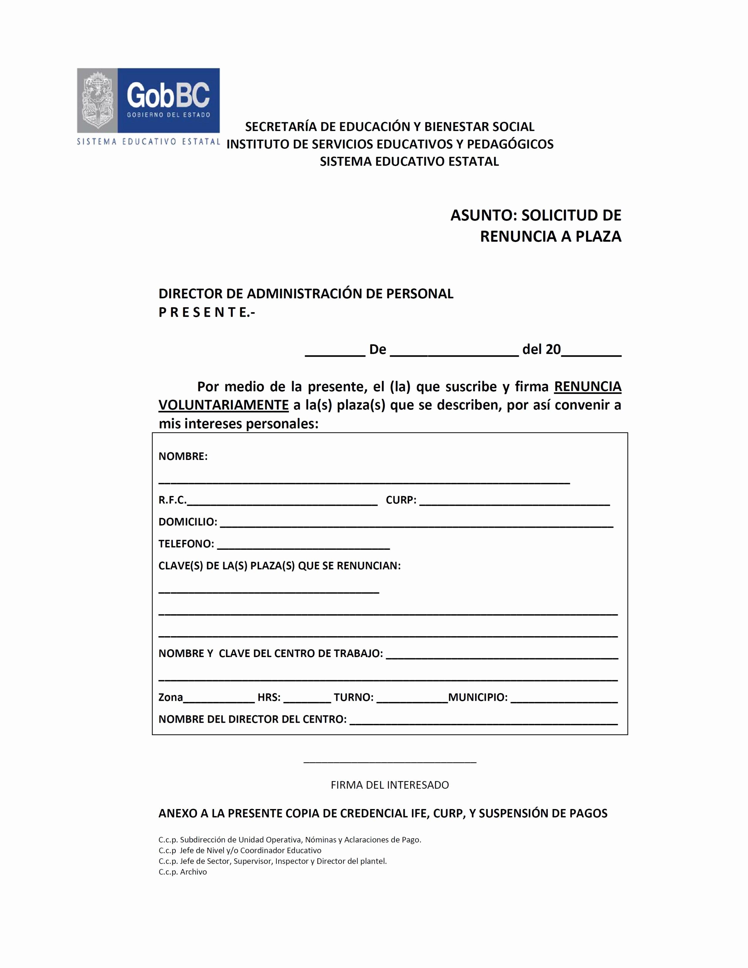 Formato De Carta De solicitud Inspirational formato solicitud De Renuncia A Plaza Sebs