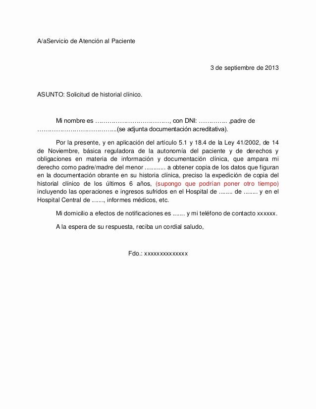 Formato De Carta De solicitud Lovely Carta solicitud Historial Clinico