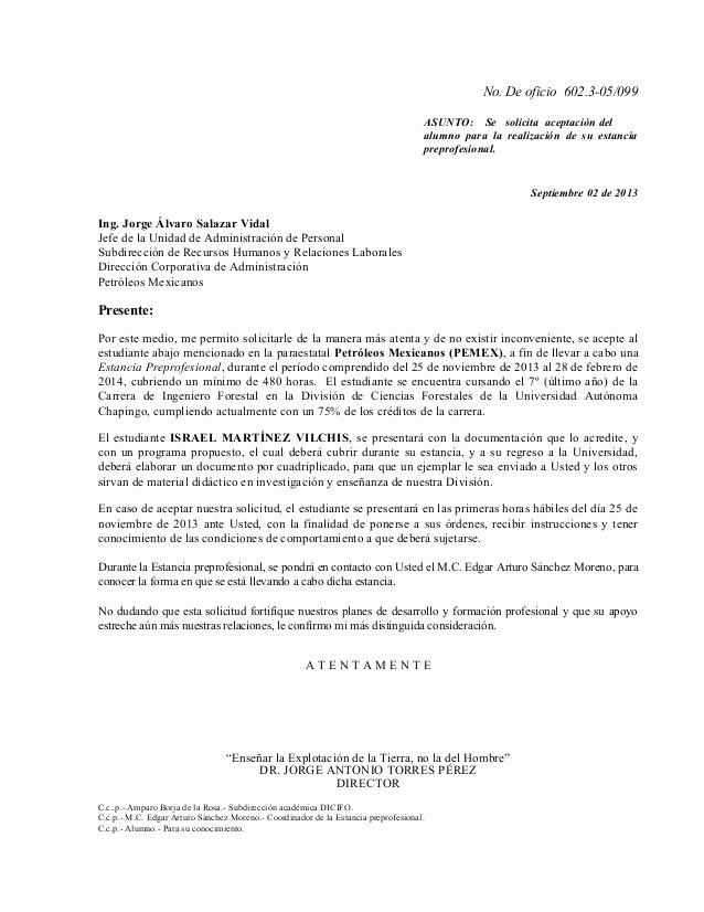Formato De Carta De solicitud Lovely formato 2 Oficio De solicitud A Instancia Receptora Pemex
