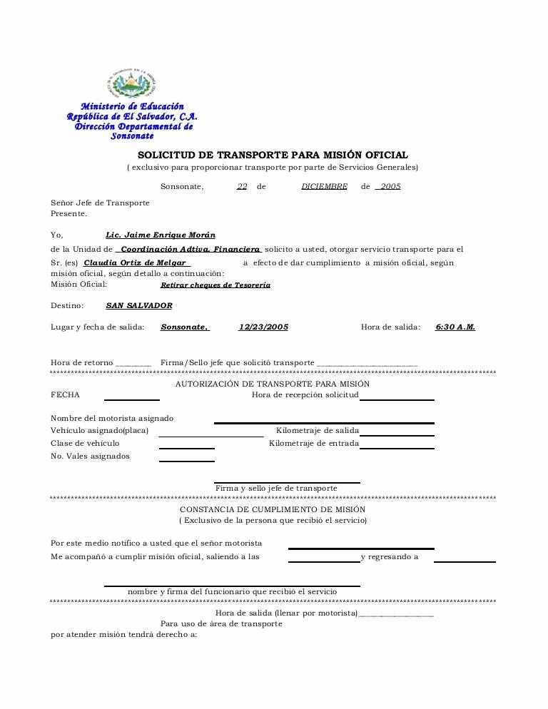Formato De Carta De solicitud Lovely formato De solicitud De Transporte