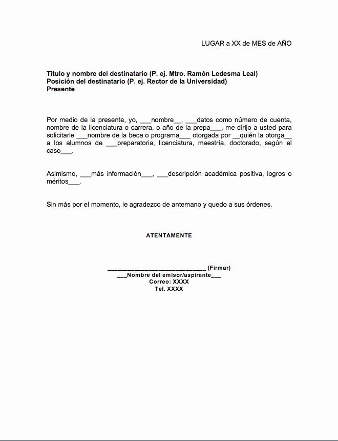 Formato De Carta De solicitud Luxury Carta Para solicitud De Beca formatos Y Ejemplos