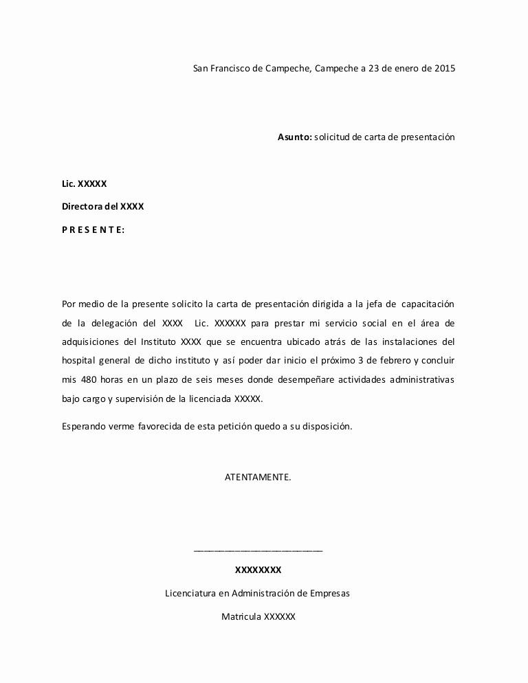 Formato De Carta De solicitud New solicitud Para Una Carta De Servicio social
